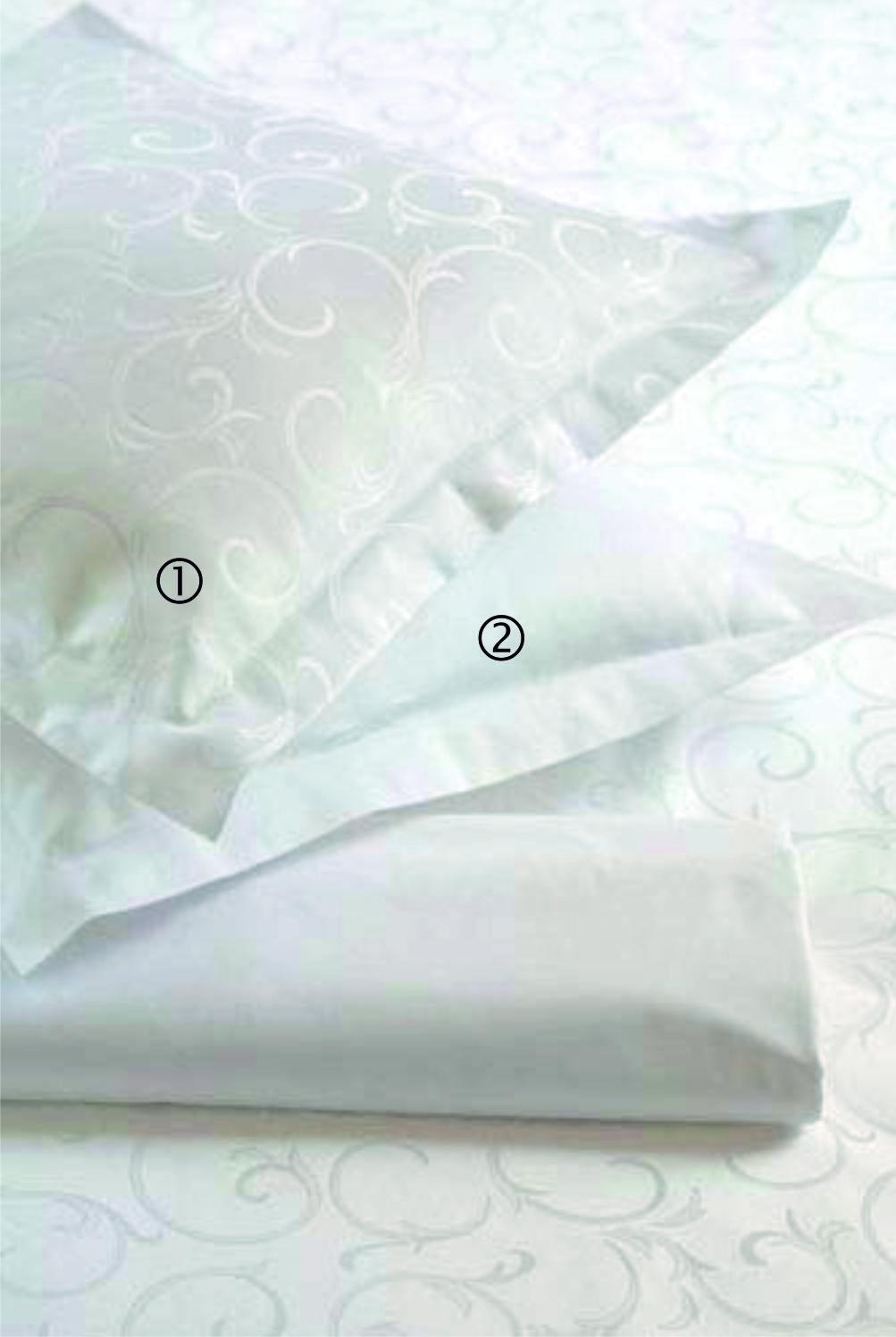 Adamaszkowa pościel hotelowa Ornella FNR i 980/0100 biel optyczna.
